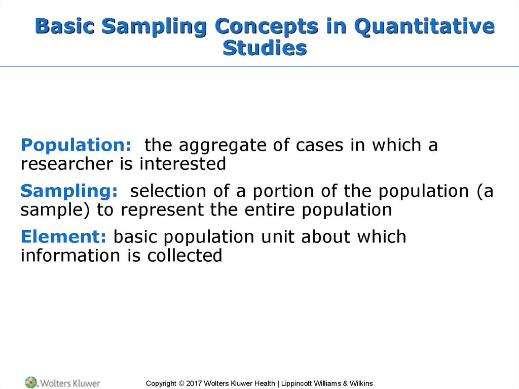 Basic Sampling Concepts in Quantitative Studies