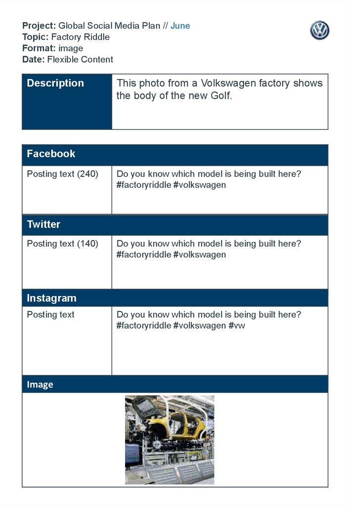 Project: Global Social Media Plan // June Topic: Factory