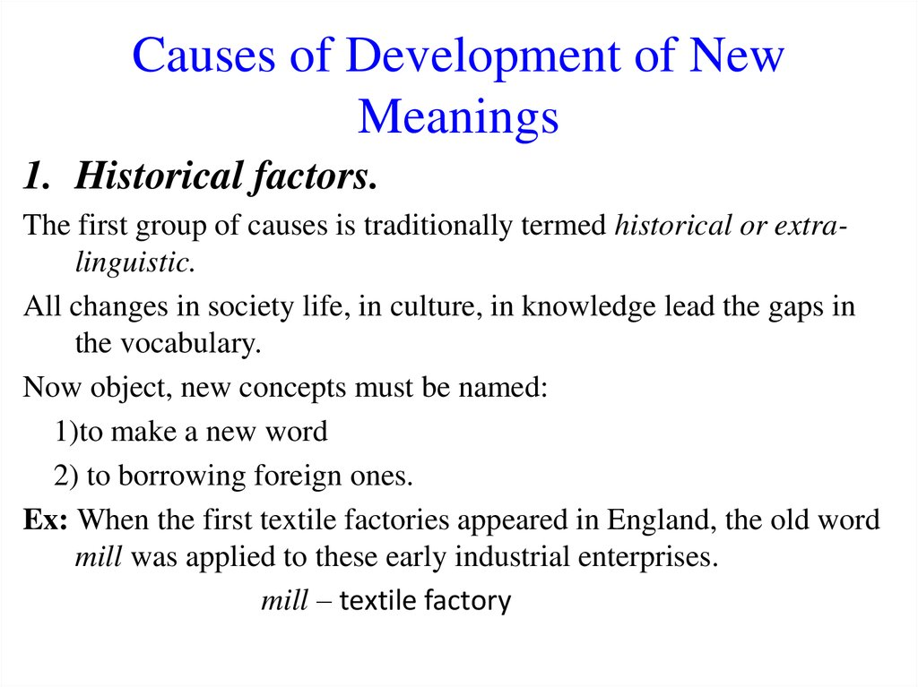 Causes of Development of New Meanings