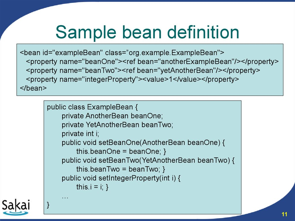 Sample bean definition