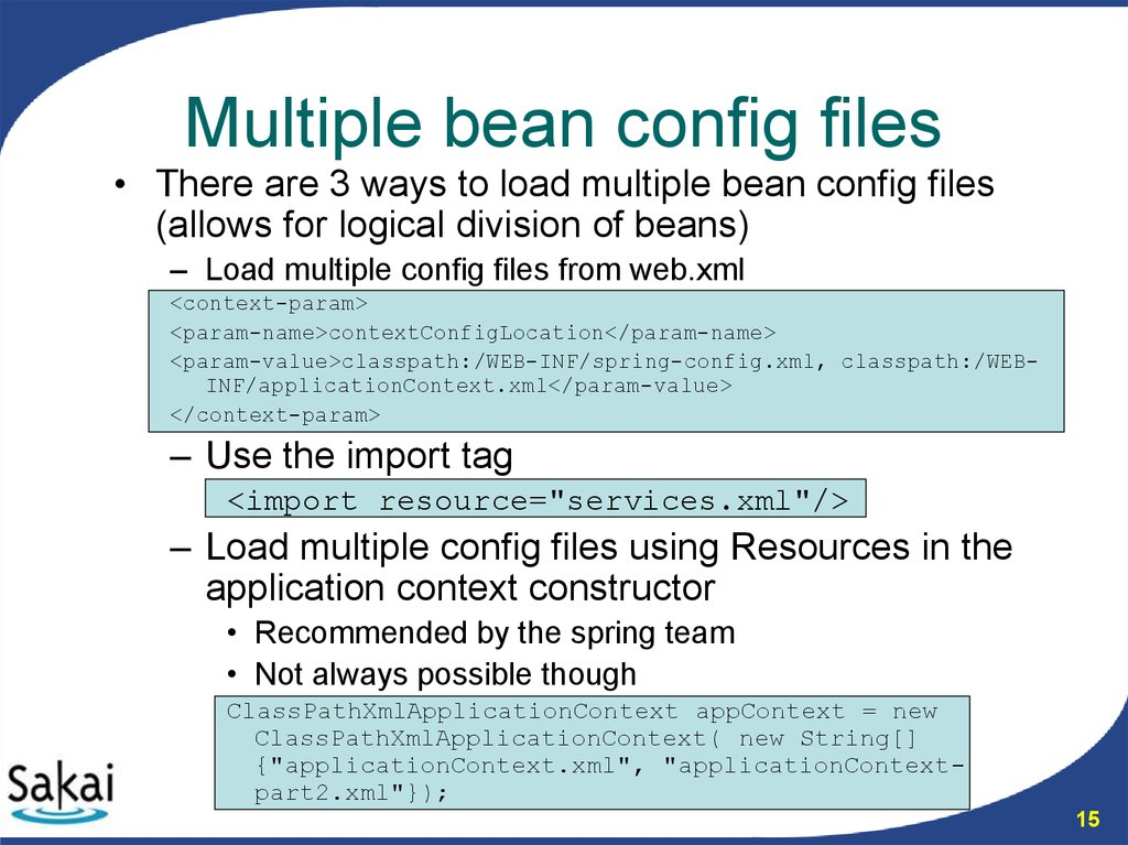 Multiple bean config files