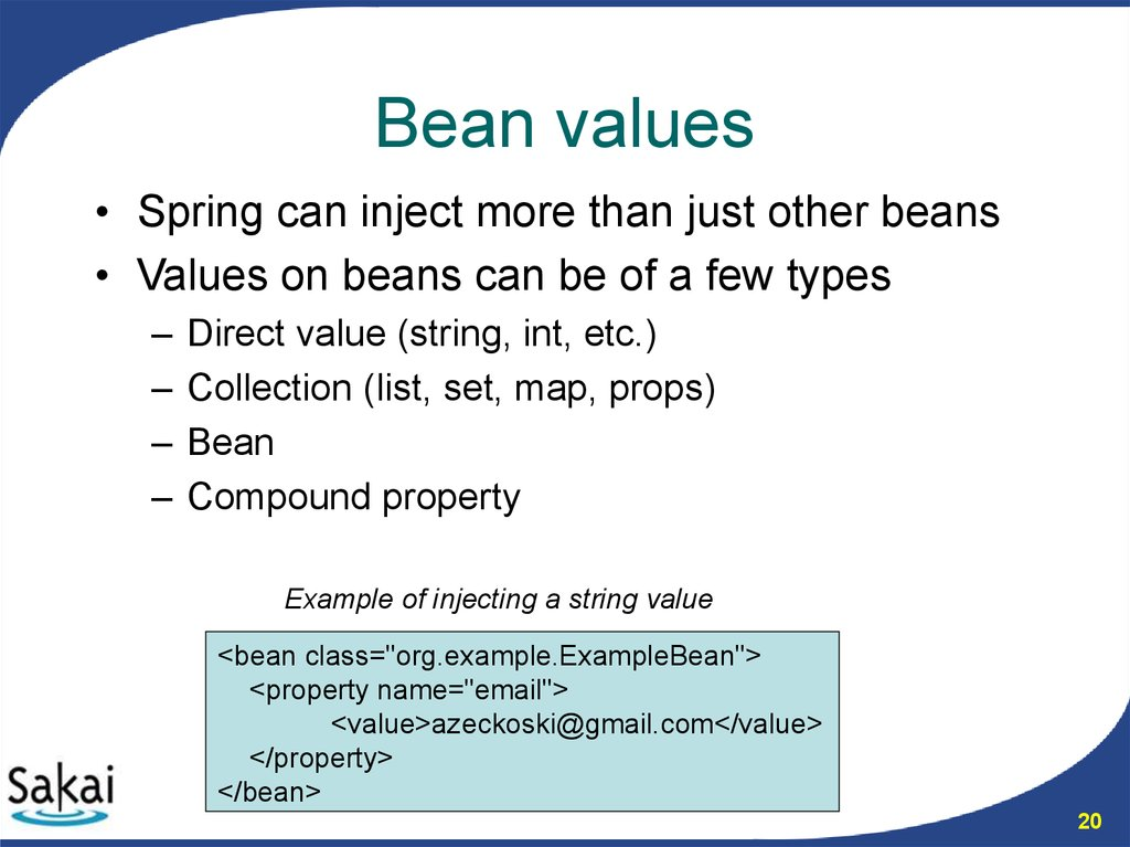 Bean values
