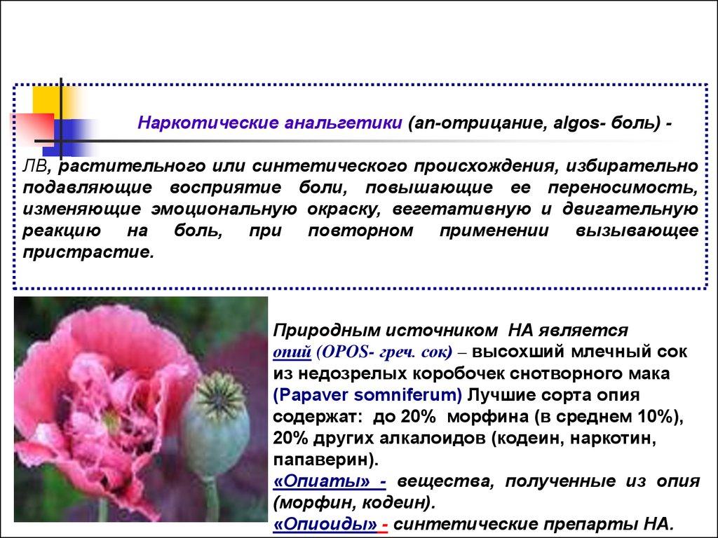Растительные наркотические анальгетики
