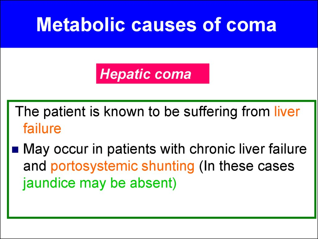 Causes of coma