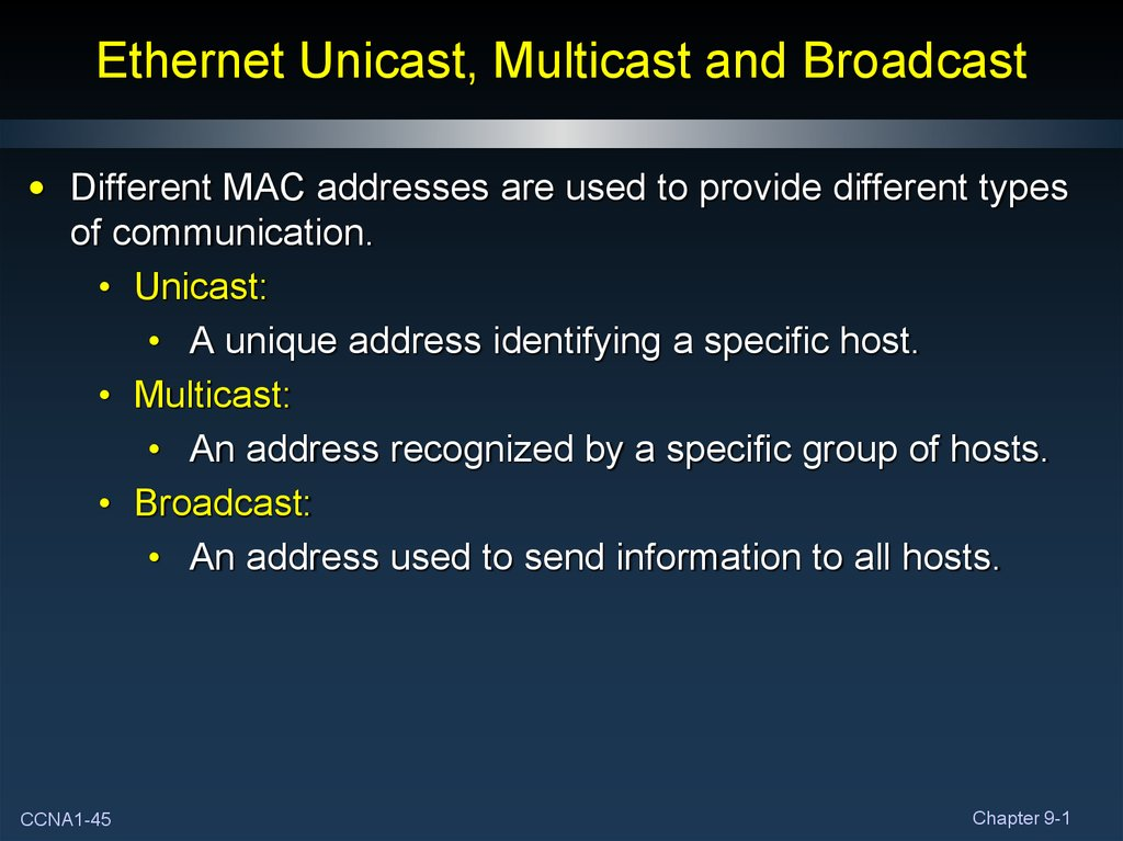 Ethernet Unicast, Multicast and Broadcast