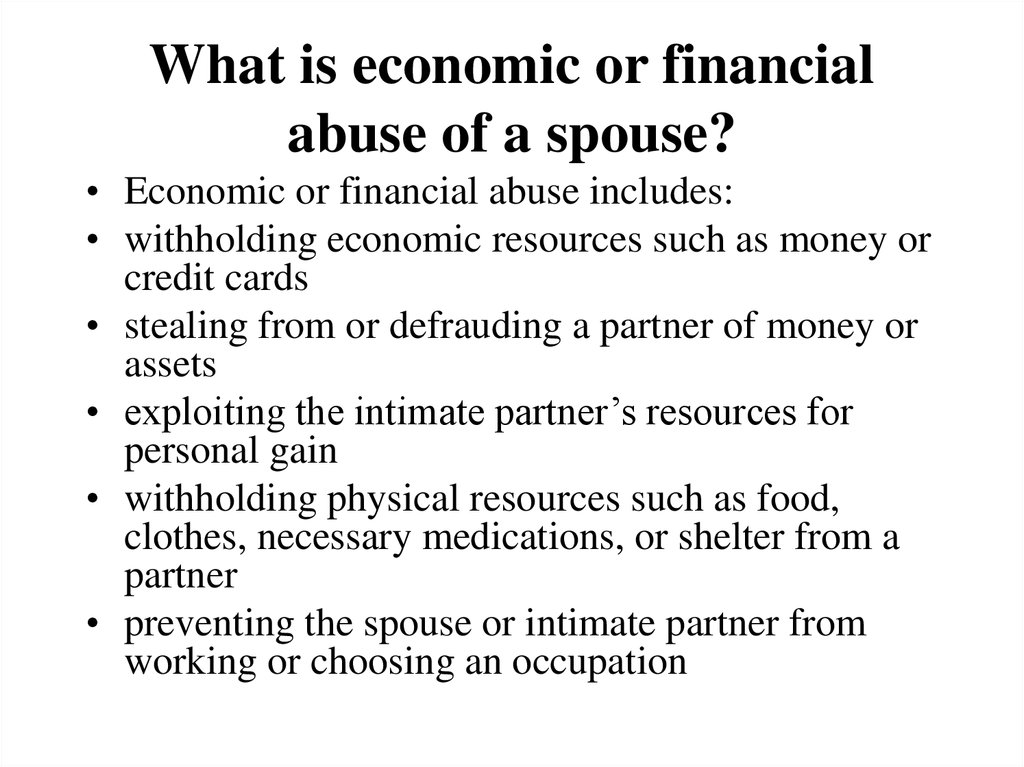 What is economic or financial abuse of a spouse?