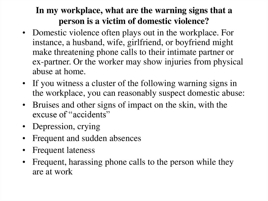 In my workplace, what are the warning signs that a person is a victim of domestic violence?