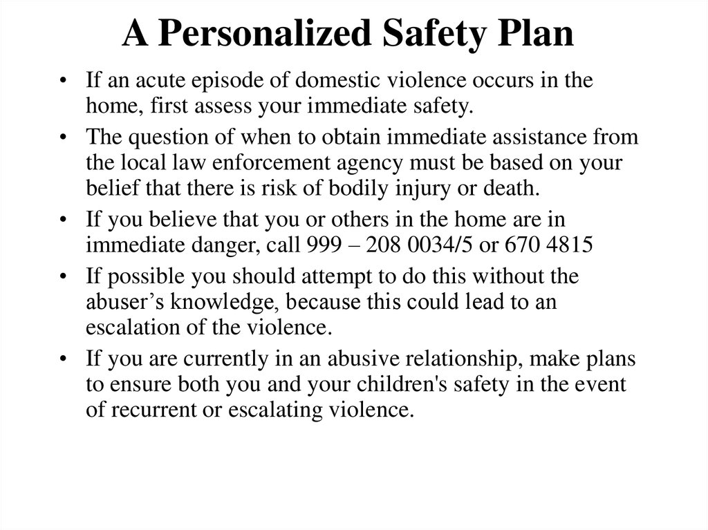 A Personalized Safety Plan