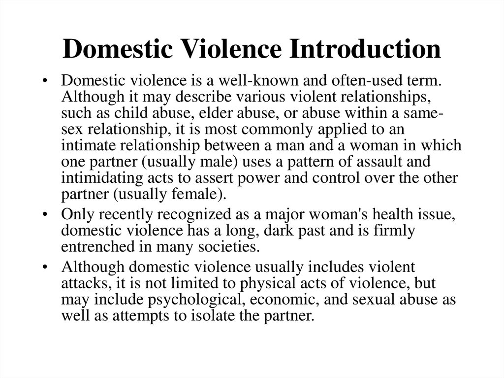 essay on domestic violence Victims of domestic violence face a variety of complex legal and personal issues that can be further exacerbated by the pressures of immigration and culturread more here.