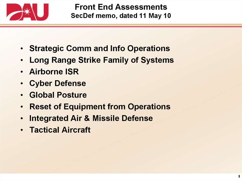 Front End Assessments SecDef memo, dated 11 May 10
