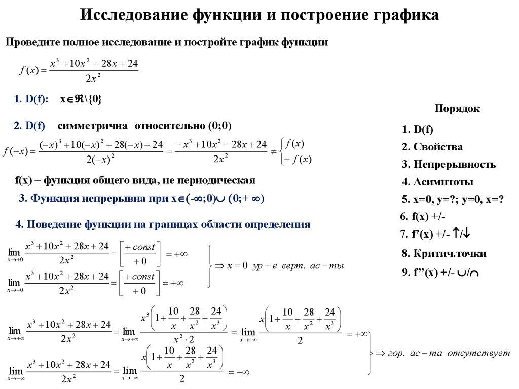 Исследование функции примеры решения 9 класс