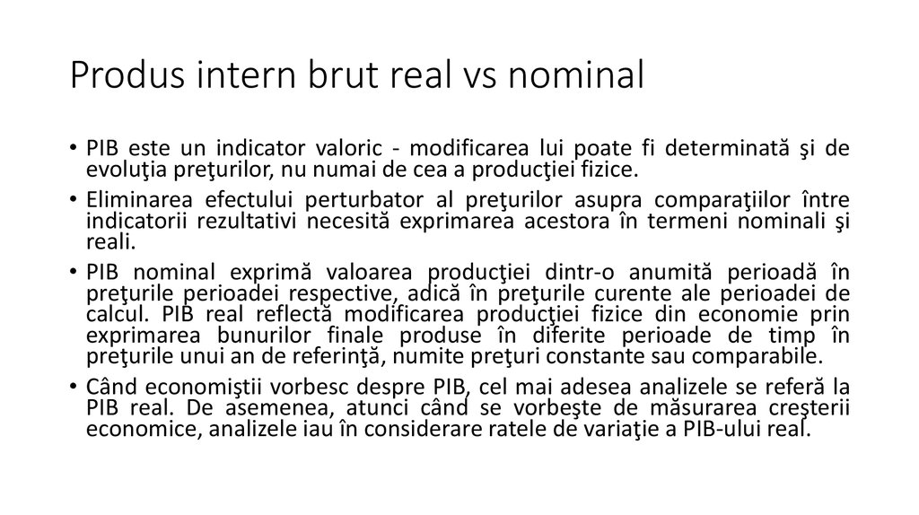 Produs intern brut real vs nominal