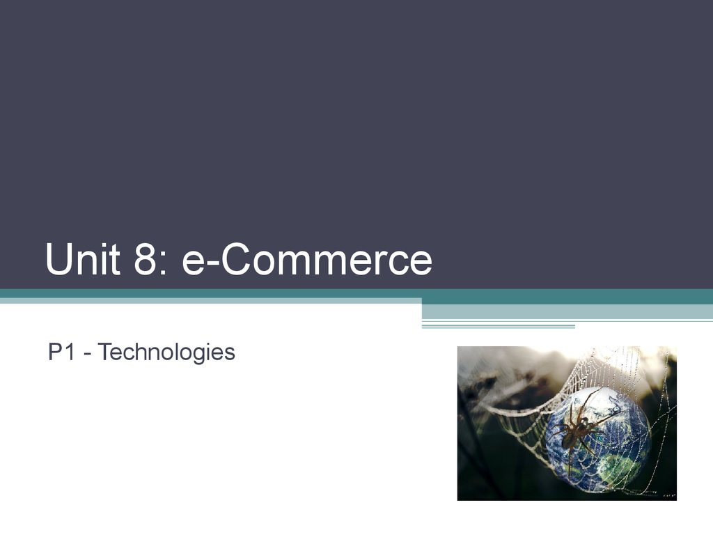 Unit 8: e-Commerce