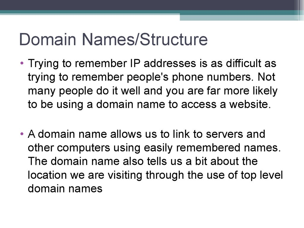 Domain Names/Structure