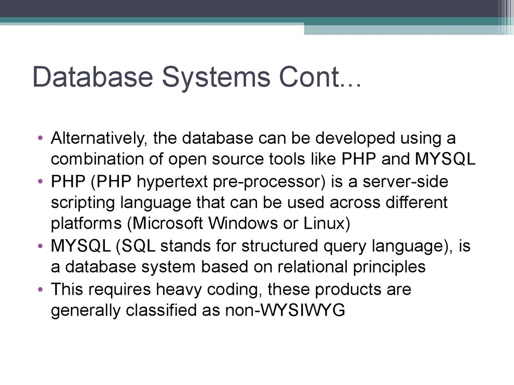 Database Systems Cont...