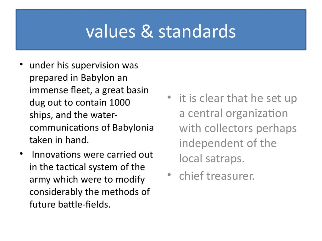values & standards