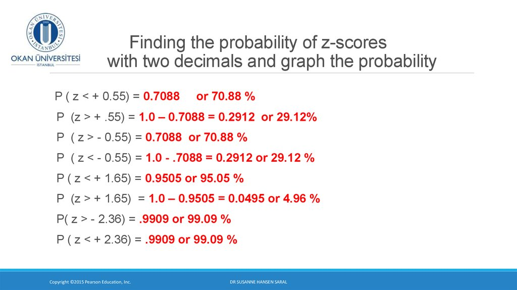 Finding the probability of z-scores with two decimals and graph the probability