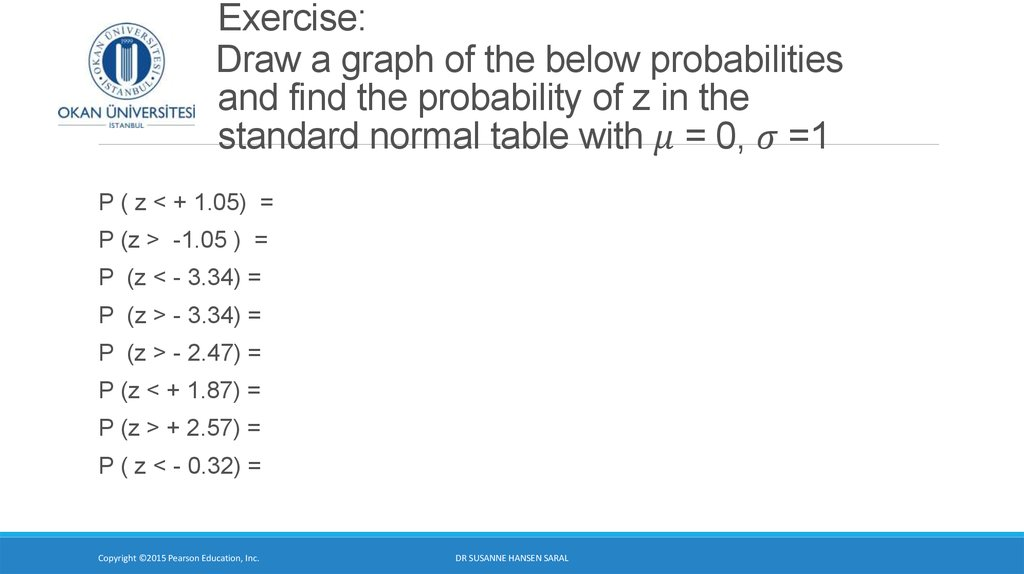 Exercise: Draw a graph of the below probabilities and find the probability of z in the standard normal table with μ = 0, σ =1