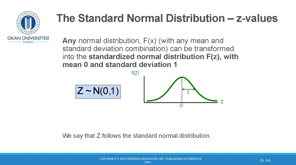 The Standard Normal Distribution – z-values