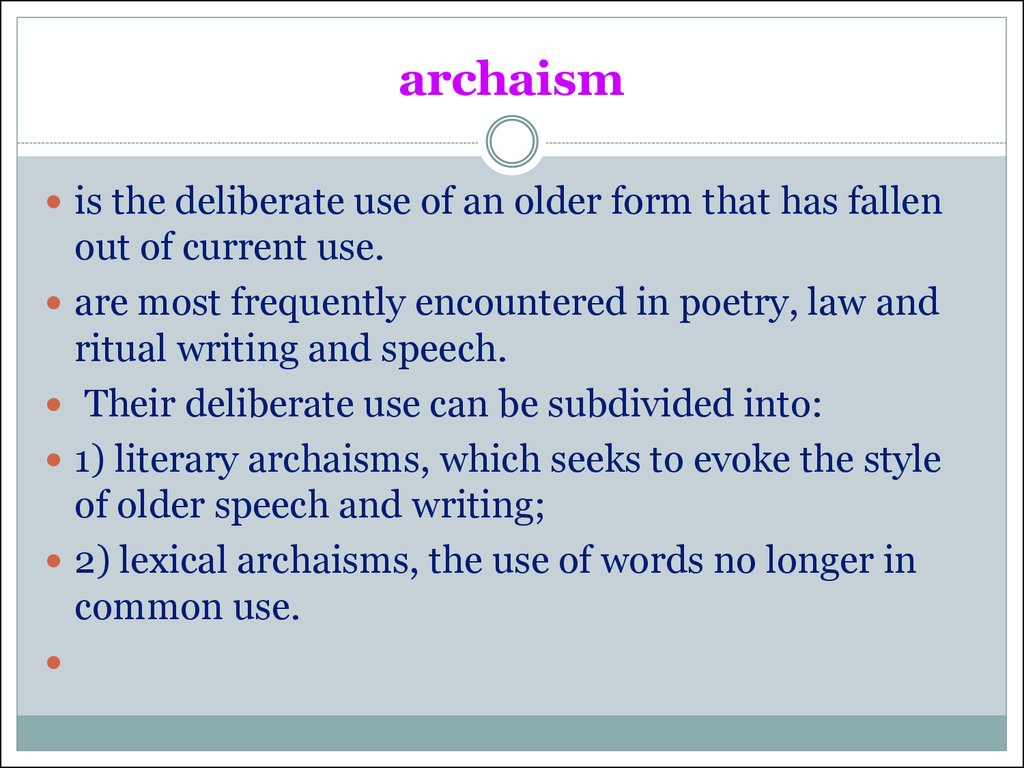 archaism