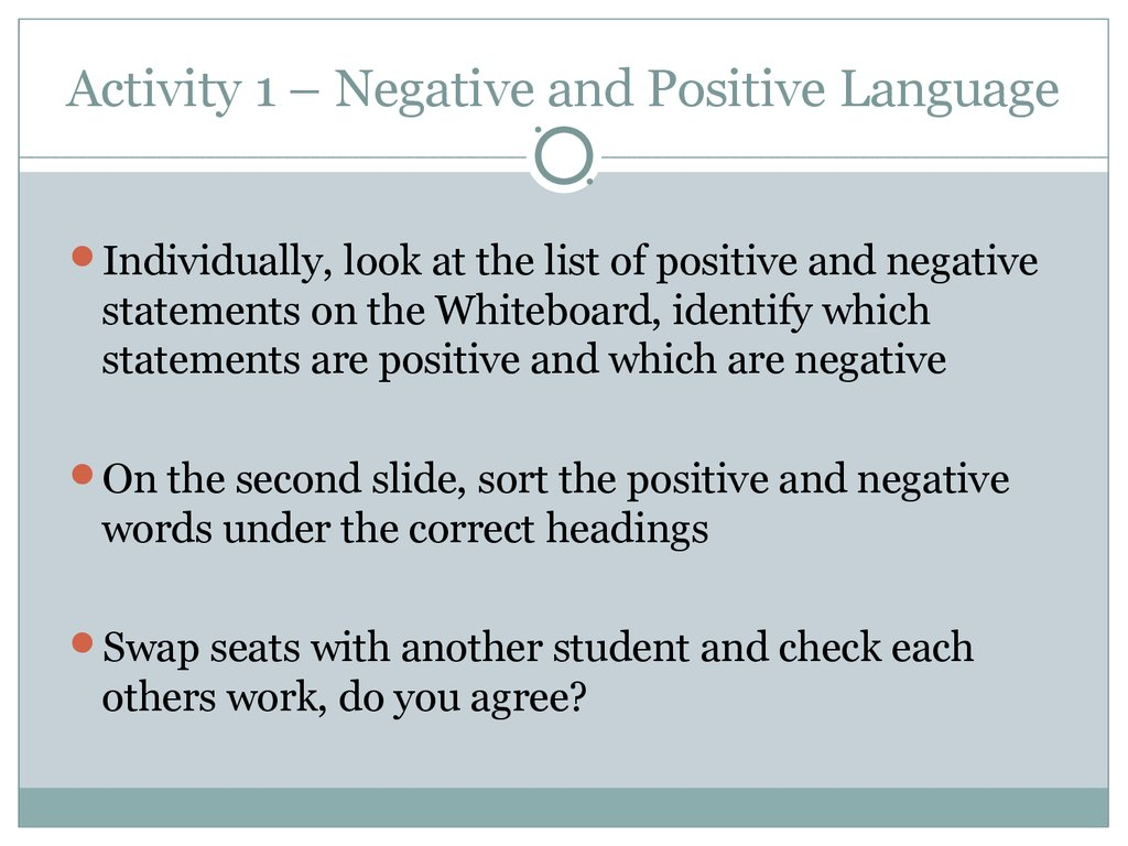 ... Communication Techniques And Cues Activity 1 U2013 Negative And Positive  Language ...