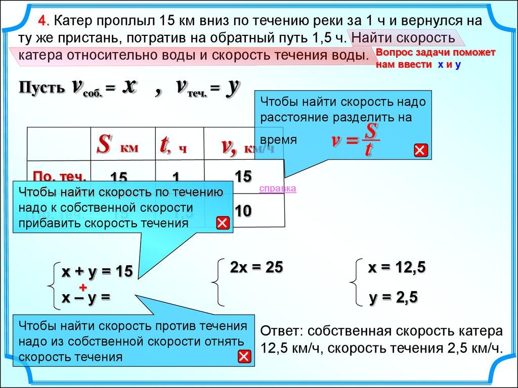 Решение задачи вычислить скорость течения реки решение задачи с мудрецами