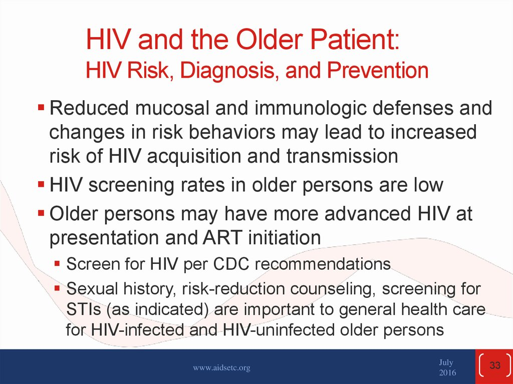 HIV and the Older Patient: HIV Risk, Diagnosis, and Prevention