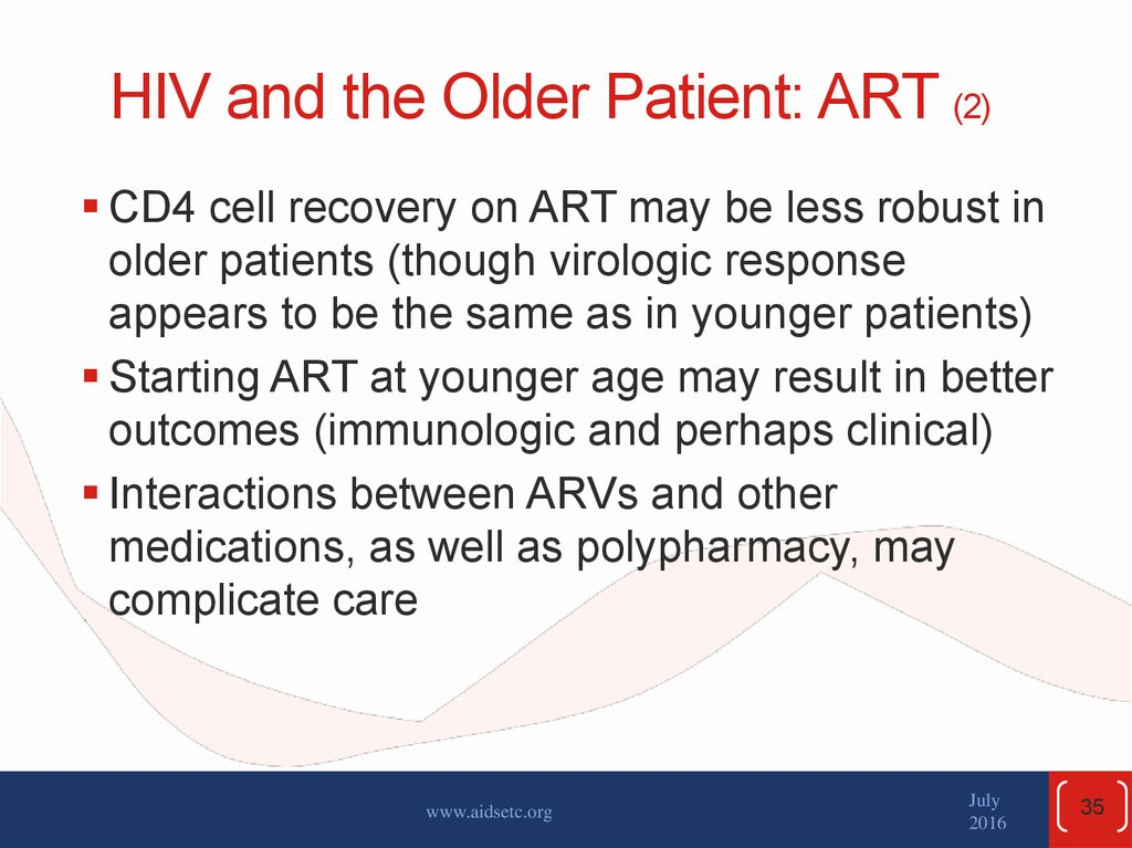 HIV and the Older Patient: ART (2)