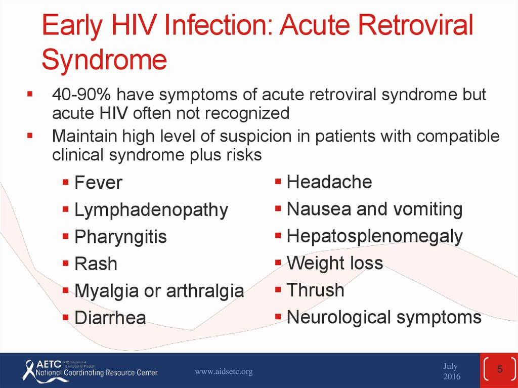 Early HIV Infection: Acute Retroviral Syndrome