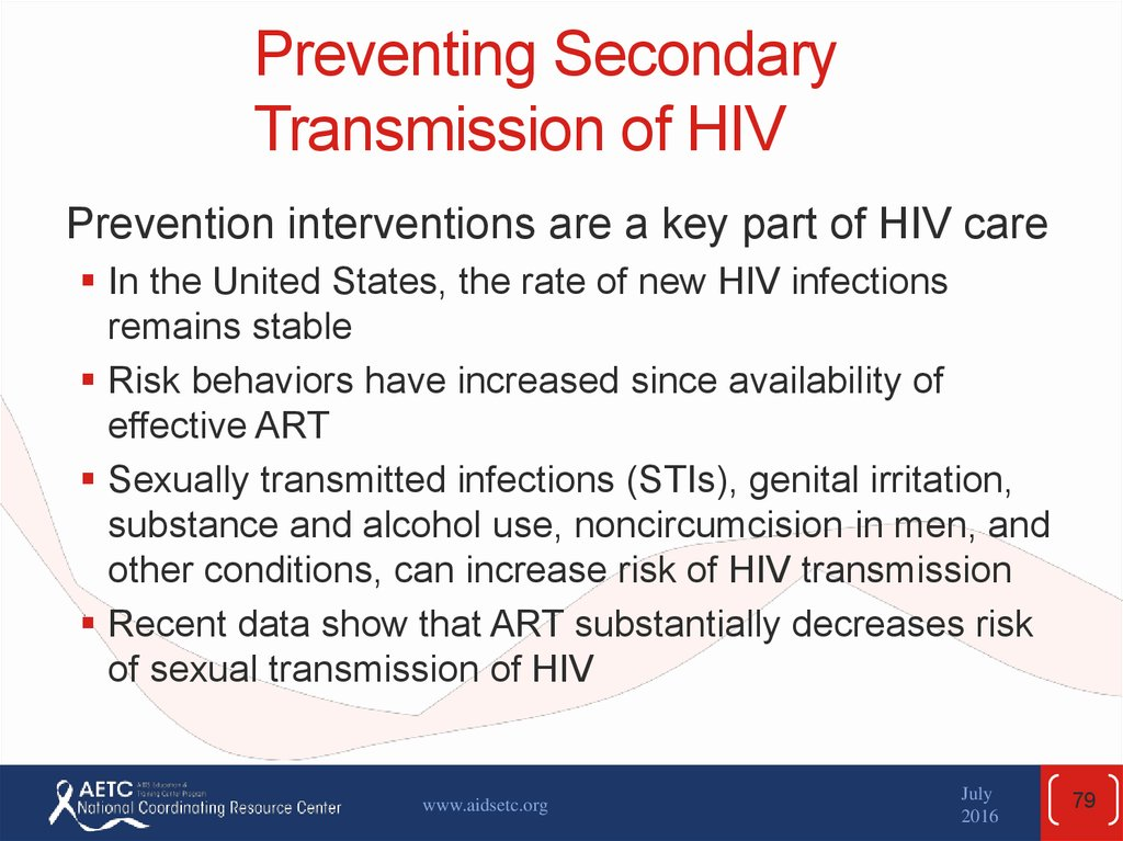 Preventing Secondary Transmission of HIV