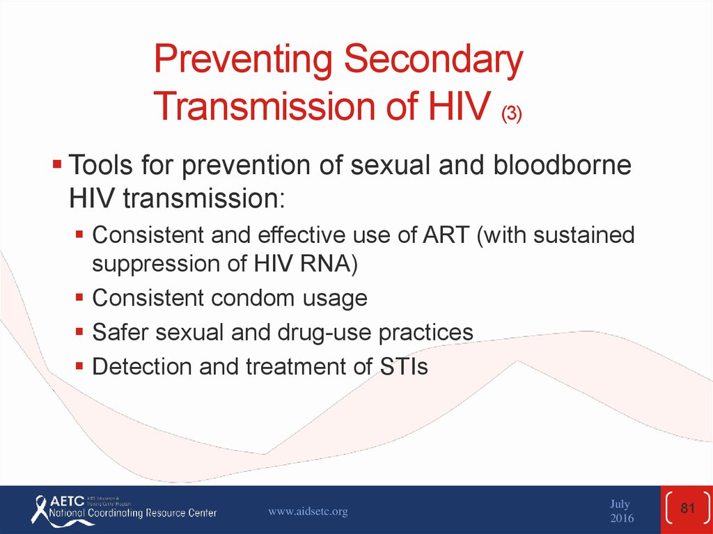 Preventing Secondary Transmission of HIV (3)