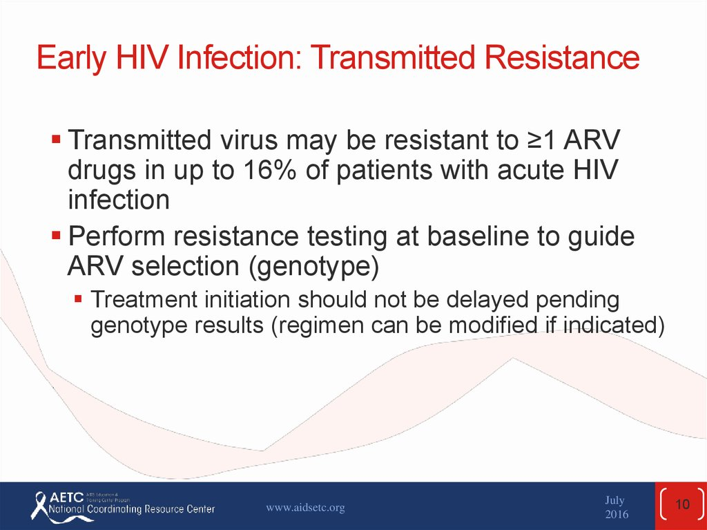 Early HIV Infection: Transmitted Resistance