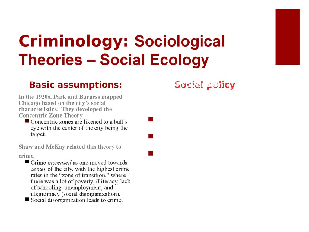 Criminology: Sociological Theories – Social Ecology