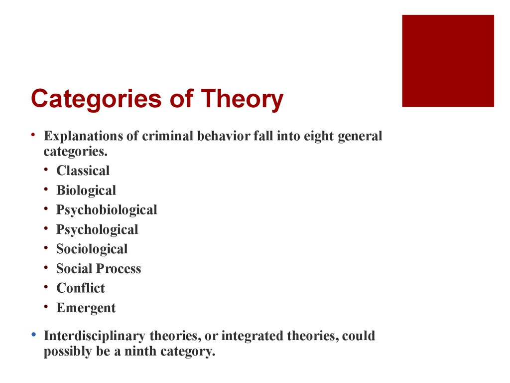 general theory of crime The self-control theory as proposed by gottfredson and hirschi (1990) couples an argument regarding the driving force behind criminality and the features of a criminal act.