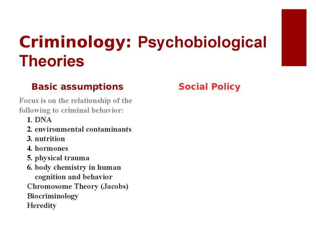 Criminology: Psychobiological Theories