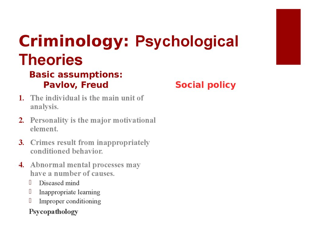 psychological theories of criminal behaviour essay 4 psychological theories in criminology the main idea of the psychological theories is that potential criminal behavior is the result of stable psychological trait of a person these personality characteristics are he ones to push people towards committing crimes and demonstrating deviant behavior.