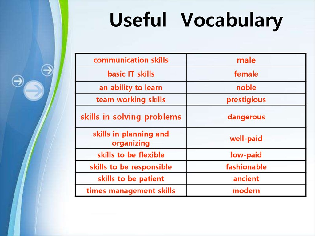 Useful Vocabulary