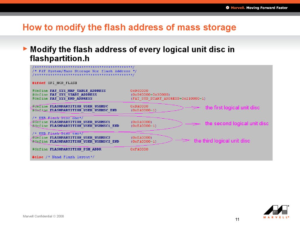 How to modify the flash address of mass storage
