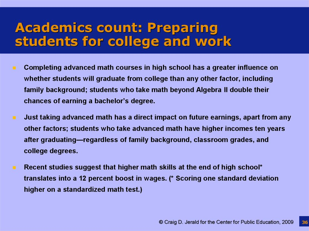 Academics count: Preparing students for college and work