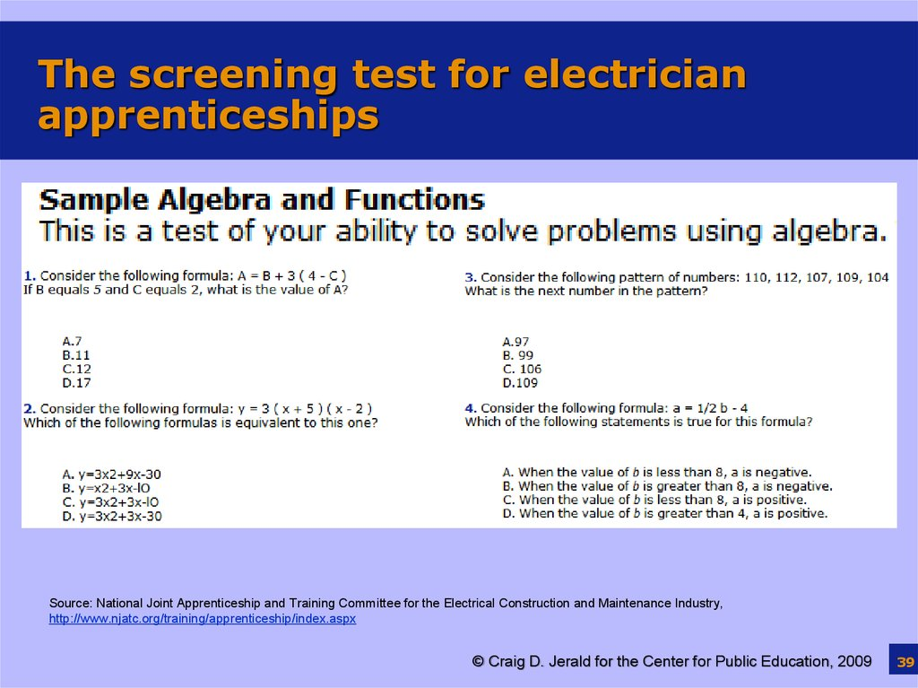The screening test for electrician apprenticeships