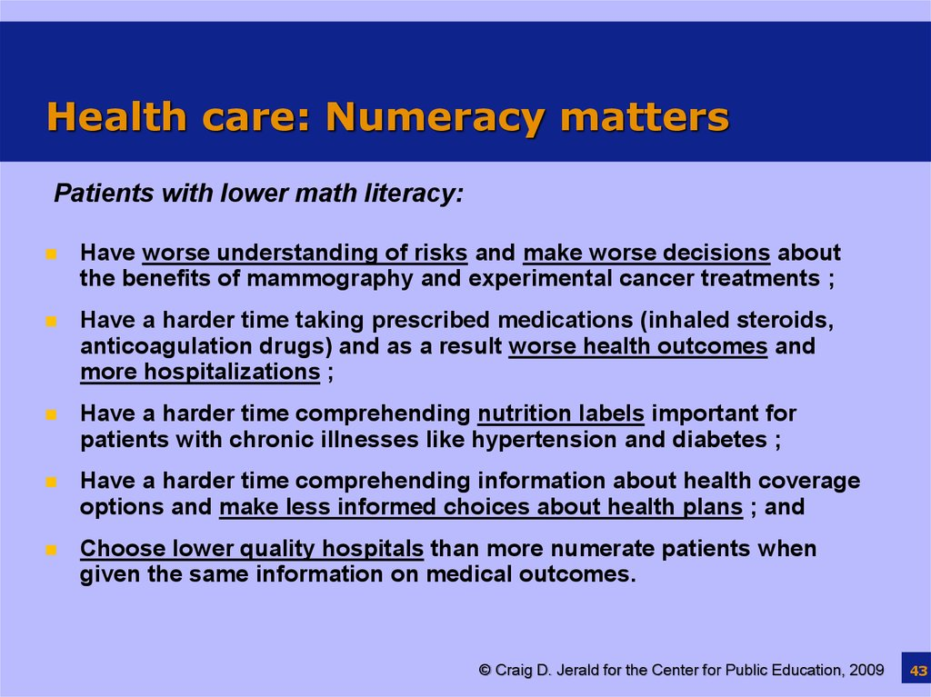 Health care: Numeracy matters