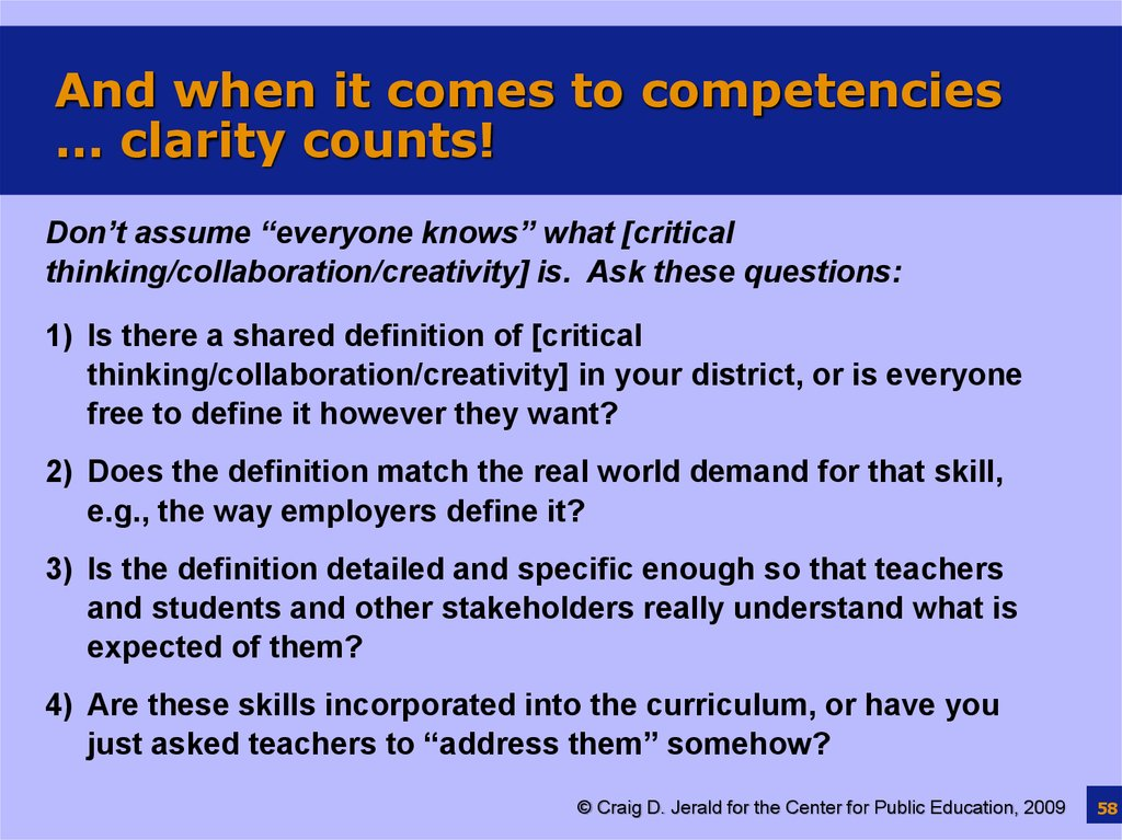 And when it comes to competencies … clarity counts!