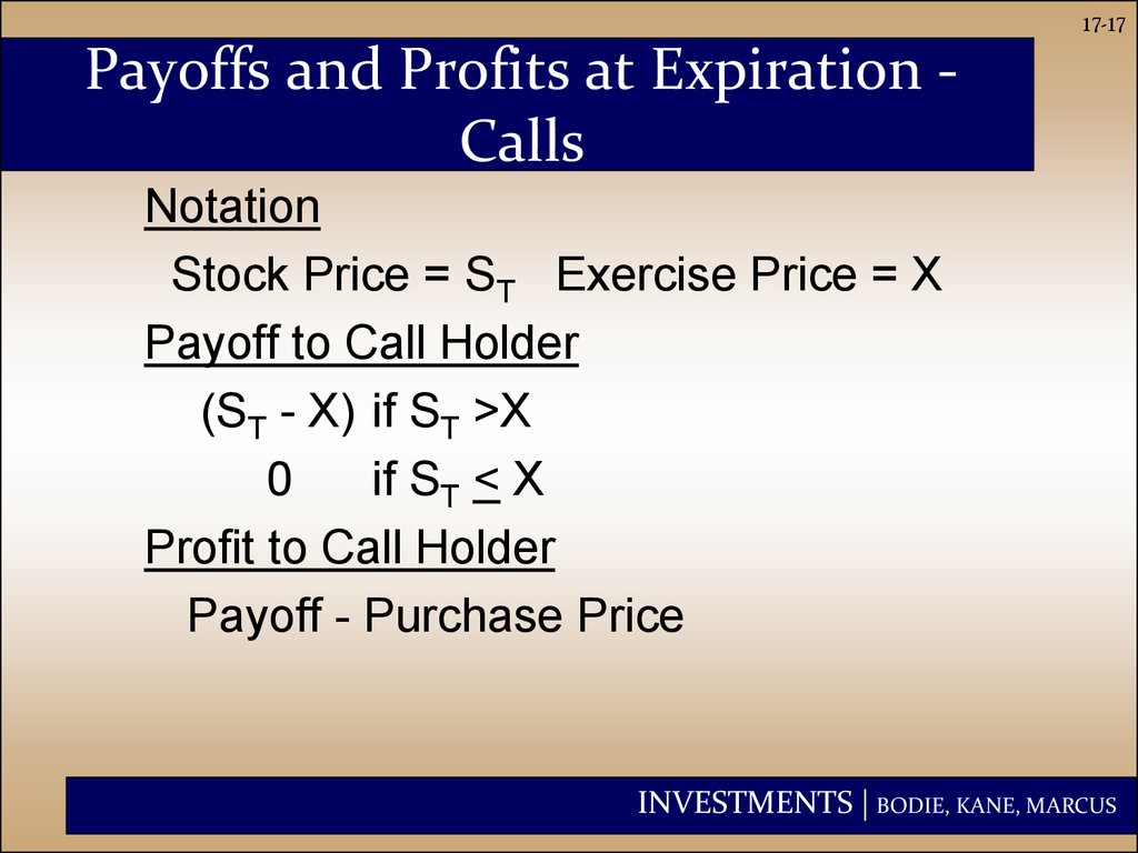 Payoffs and Profits at Expiration - Calls