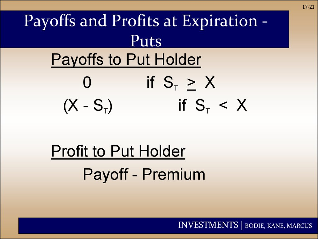 Payoffs and Profits at Expiration - Puts