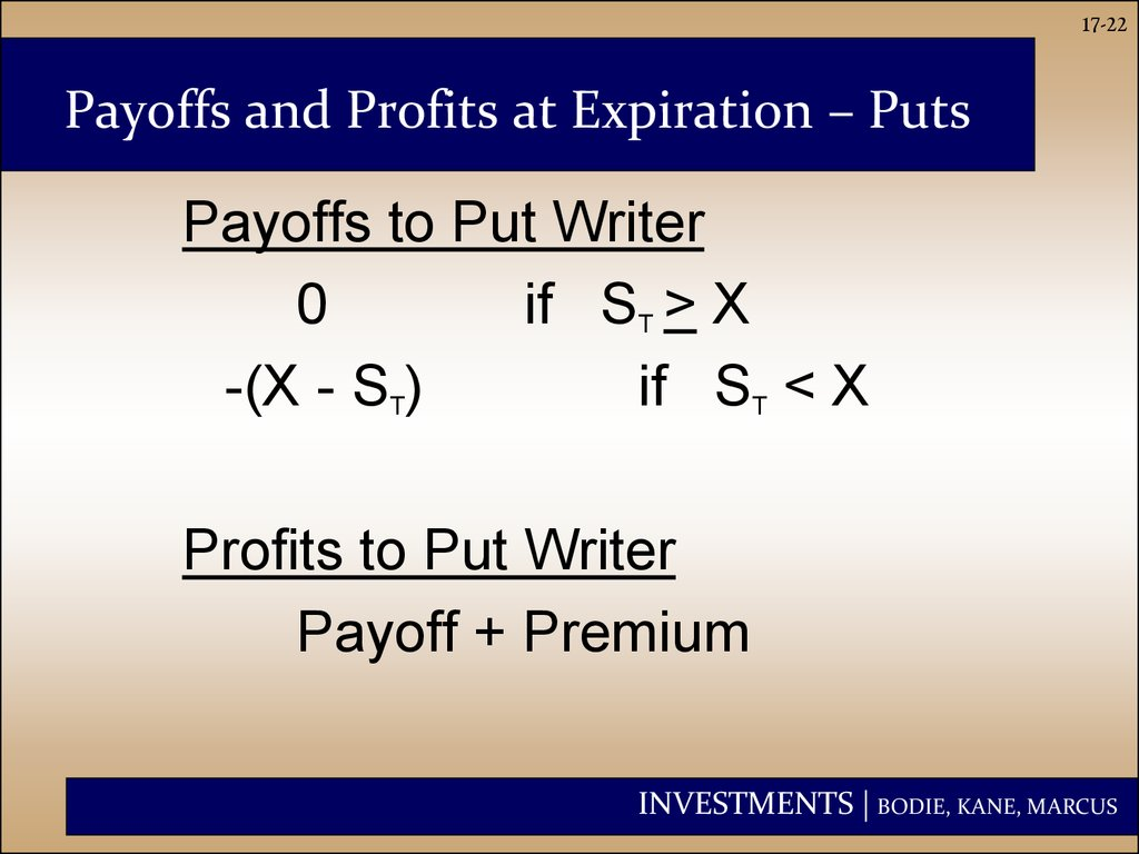 Payoffs and Profits at Expiration ?C Puts