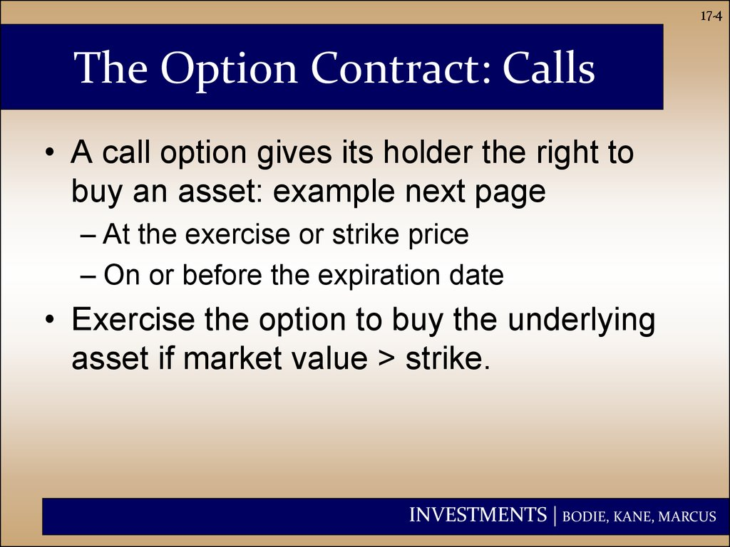 The Option Contract: Calls