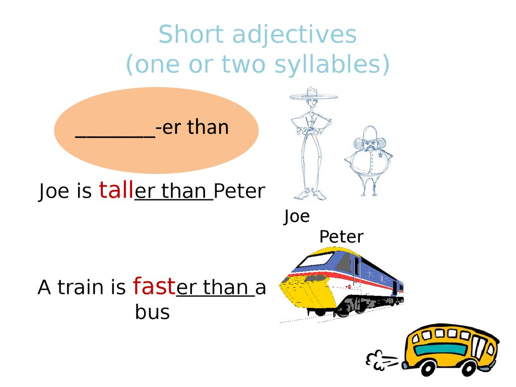 Short adjectives (one or two syllables)