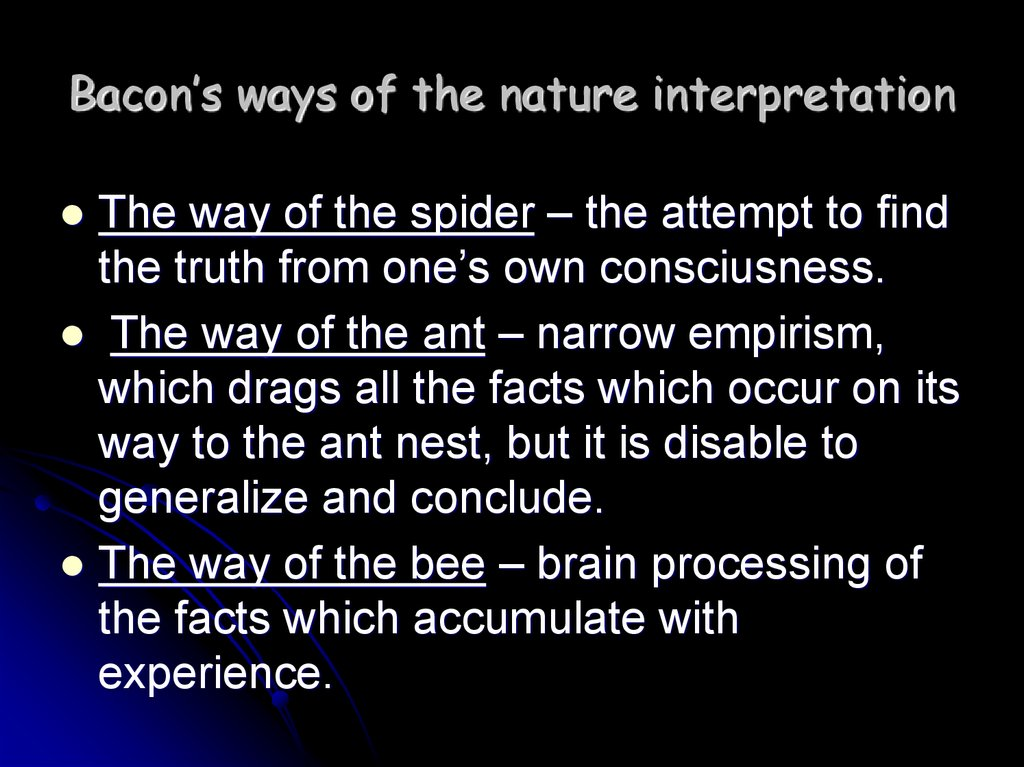Bacon's ways of the nature interpretation