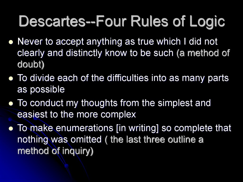 Descartes--Four Rules of Logic