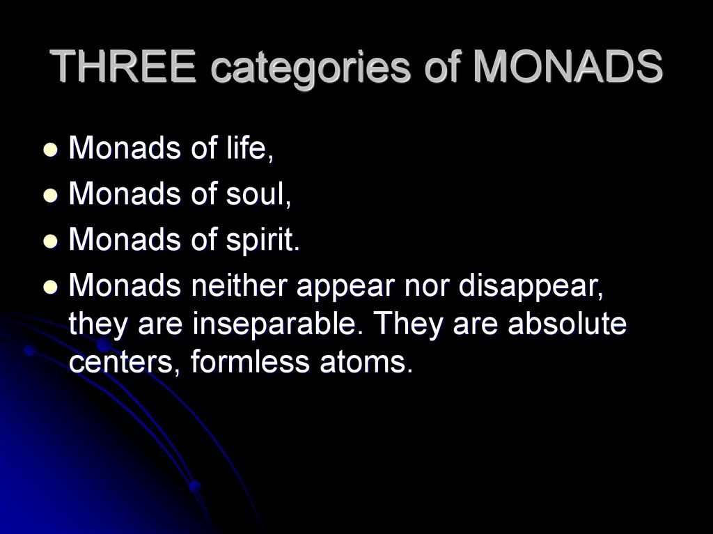 THREE categories of MONADS
